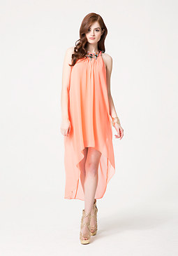 bebe Chiffon Overlay Hi-Lo Dress