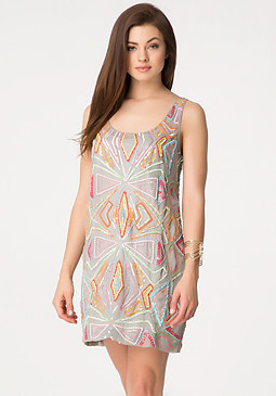 bebe Sequin & Bead Shift Dress