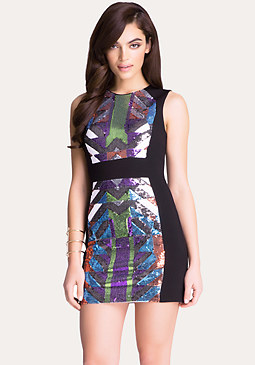 Sequin Geo Pattern Dress at bebe