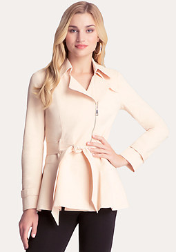 Peplum Detail Trench Coat at bebe