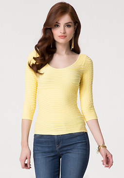 bebe Textured Crossover Top