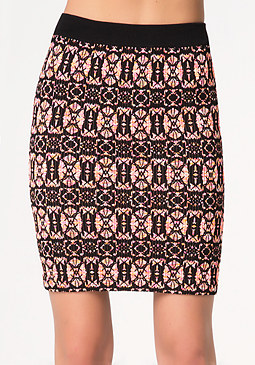 Colorful Jacquard Skirt at bebe