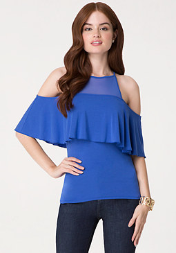 bebe Mesh Yoke Cold Shoulder Top