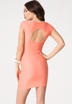 bebe Cap Sleeve Cutout Dress