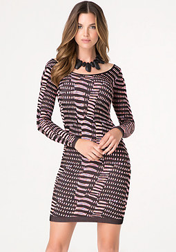 bebe Jacquard Long Sleeve Dress