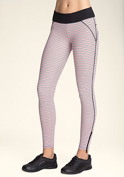 bebe Striped Piped Leggings