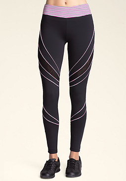 bebe Mesh & Piping Leggings
