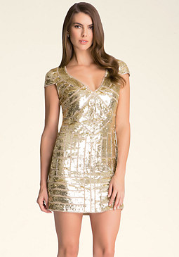 bebe Sequin V-Neck Shift Dress
