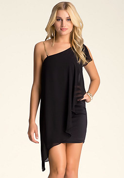 bebe Chain Shoulder Flowy Dress