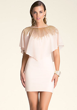 bebe Sequined Overlay Dress