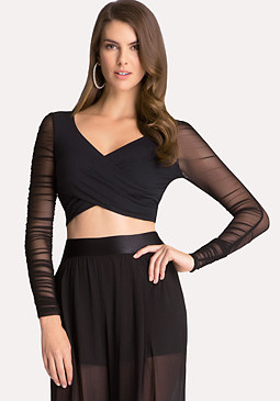 bebe Mesh Sleeve Wrap Crop Top