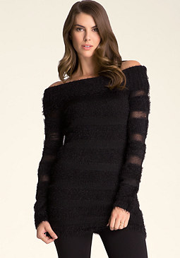 bebe Sheer Fuzzy Tunic