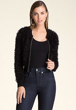 bebe Fuzzy Zip-Up Bomber Sweater