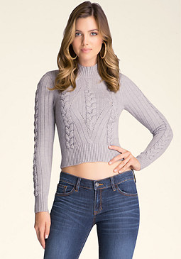 bebe Cable Crop Sweater