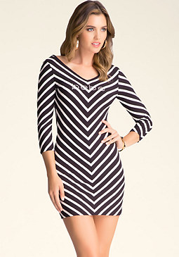 bebe Dramatic Double V Dress