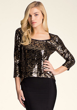 bebe Drape Back Sequin Top