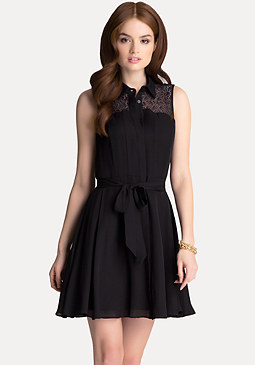 bebe Silk Fit & Flare Dress