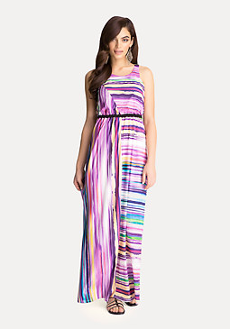 bebe Colorful Striped Maxi Dress