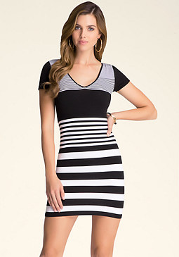 bebe Variegated Stripe Dress