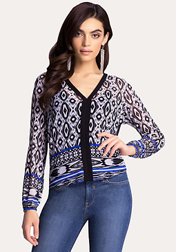 bebe Print Cold Shoulder Shirt