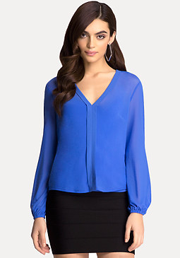 bebe V-Neck Cold Shoulder Blouse