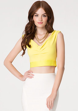 bebe Off Shoulder Crop Top