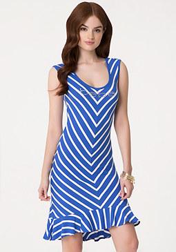 bebe Chevron Striped Flare Dress