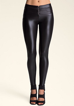 bebe Petite V-Yoke Wet Leggings