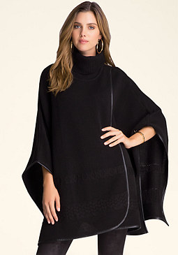 bebe Turtleneck Cable Poncho