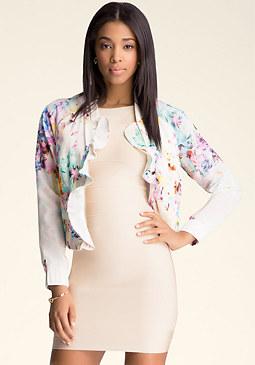 bebe Print Ruffle Collar Jacket
