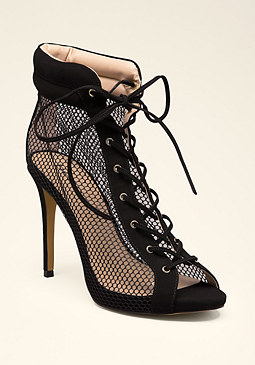 bebe Sydney Mesh Lace-Up Booties