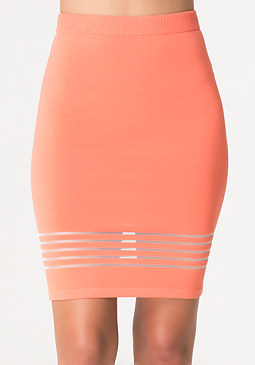 bebe Sheer Stripe Pencil Skirt