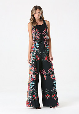 Print Tie Waist Jumpsuit at bebe