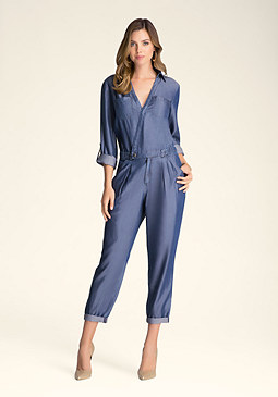 bebe Chambray Flight Suit