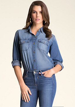 bebe Chambray Denim Shirt