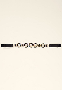 bebe Jeweled Skinny Stretch Belt