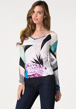 bebe Logo Double V-Neck Top
