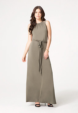 bebe Solid Strappy Maxi Dress
