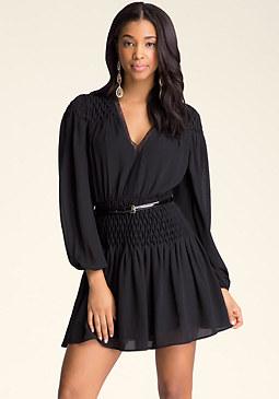 bebe Smocked Flare Skirt Dress