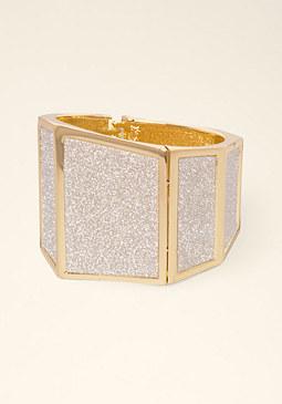 bebe Geometric Glitter Bracelet