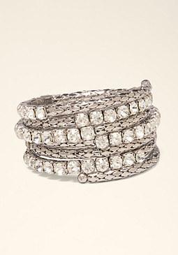 bebe Coil & Crystal Bracelet
