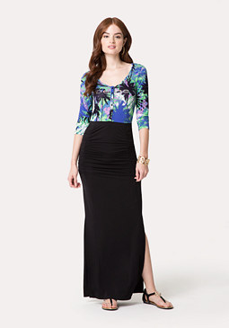 bebe Print Henley Maxi Dress