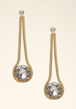 bebe Chain & Crystal Earrings