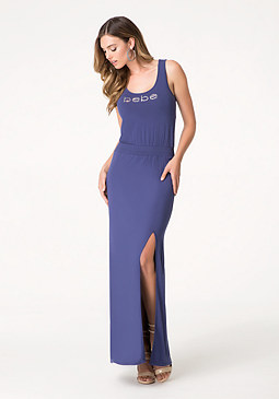 bebe Logo Cutout Maxi Dress