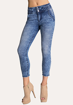 High-Waist Tux Capri Jeans at bebe