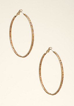 bebe Rhinestone Hoop Earrings
