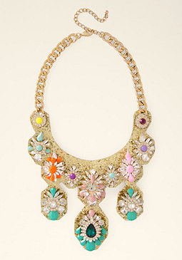 bebe Glitter & Stone Necklace