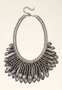 bebe Crystal Fringe Necklace