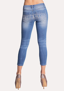 Logo Stitch Capri Jeans at bebe
