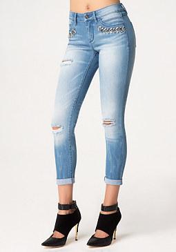 bebe Embellished Skinny Jeans